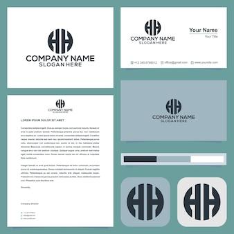 La lettera iniziale del logo h si combina con il concetto di cerchio nel vettore premium del biglietto da visita