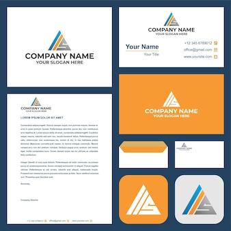 La lettera iniziale del logo iis si combina con il triangolo nel biglietto da visita premium vector logo premium