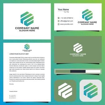 La lettera iniziale del logo ilu si combina con l'esagono nel biglietto da visita premium vector