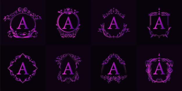 Logo iniziale a con ornamento di lusso o cornice floreale, set da collezione.