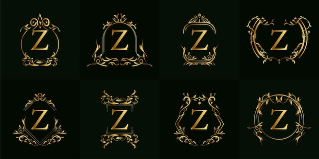 Logo z iniziale con ornamento di lusso o cornice floreale, insieme di set.