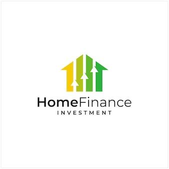 Ispirazione del logo che combina la forma della casa e la forma del logo di investimento e la freccia su