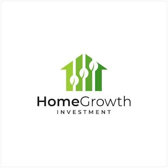 Ispirazione al logo che combina la forma di una casa e la forma di un investimento e il logo della crescita delle foglie