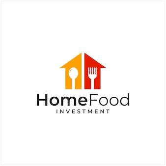 Ispirazione al logo che combina la forma di una casa e la forma di un logo di investimento e cucchiaio, forchetta