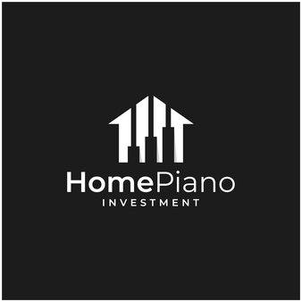Ispirazione al logo che combina la forma di una casa e la forma di un investimento e il logo di un pianoforte