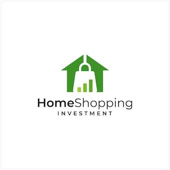 Ispirazione al logo che combina la forma di una casa e la forma di un investimento e il logo di una borsa della spesa