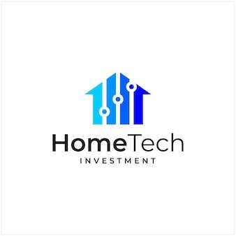 Ispirazione al logo che combina la forma di una casa e la forma di un logo di investimento e tecnologia