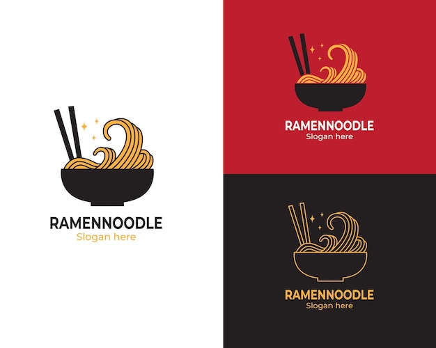 Logo spaghetti giapponesi in ciotola