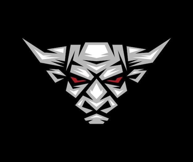 Logo, etichetta, icona, illustrazione di una testa di toro con sfondo scuro.
