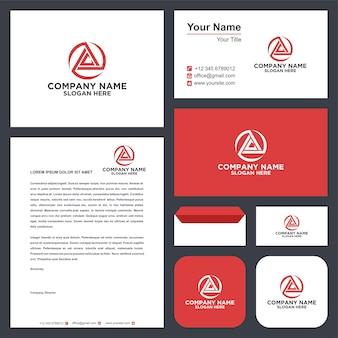 Logo lettera ac triangolo e biglietto da visita