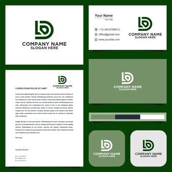 Logo lettera iniziale ld e biglietto da visita premium