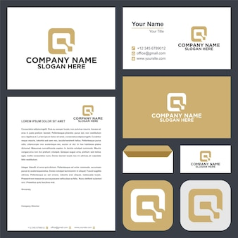 Logo lettera iniziale q e biglietto da visita premium