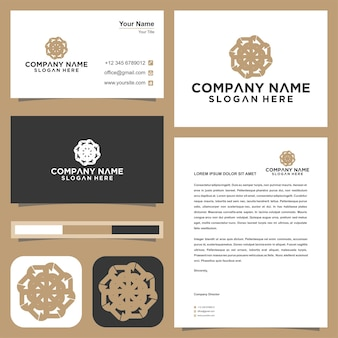 Logo loto mandala fiore e biglietto da visita premium