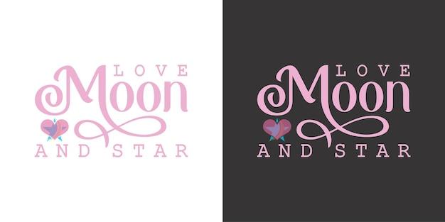 Logo amore luna e stella nel biglietto da visita premium vector logo premium