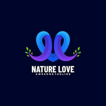 Logo mascotte natura amore gradiente colorato stile.