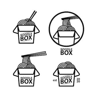 Modello di concetto di scatola di noodle logo