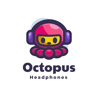 Logo octopus cuffie stile semplice mascotte