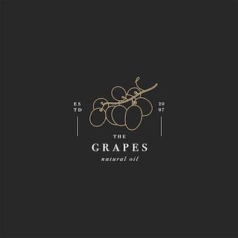 Logo packaging design elemento e icona in stile lineare - olio di semi d'uva - sano cibo vegano.