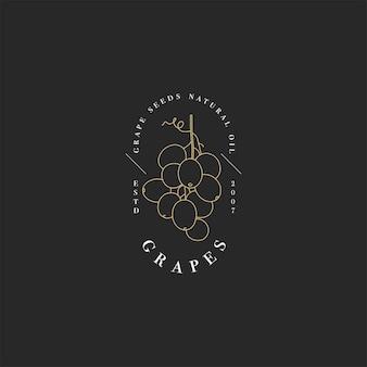 Elemento di design del packaging del logo in stile lineare - olio di semi d'uva - cibo vegano sano.