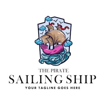Logo pirate sailing ship generale buono per qualsiasi settore