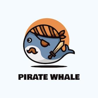 Logo pirata balena semplice stile mascotte.