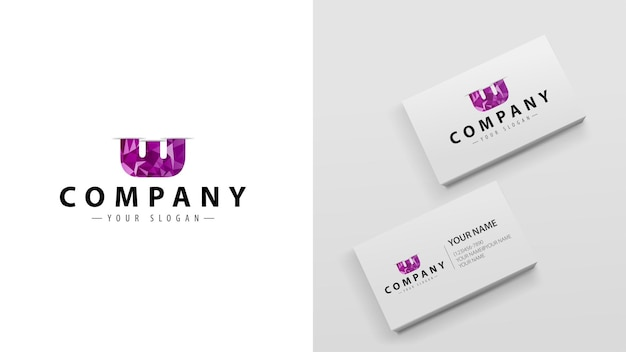 Poligono logo con la lettera e. modello di biglietti da visita con un logo