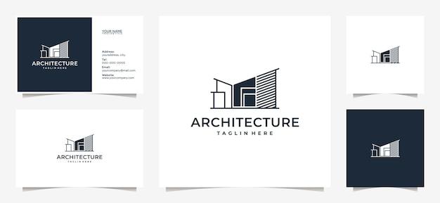 Logo per immobili, edificio, appartamento, architetto, con biglietti da visita