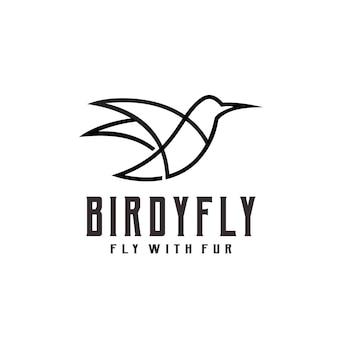 Illustrazione di arte di linea di uccelli vintage retrò logo