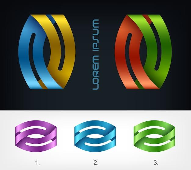 Nastro con logo, modello di disegno astratto di affari Vettore Premium