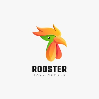 Logo gallo gradiente stile colorato.