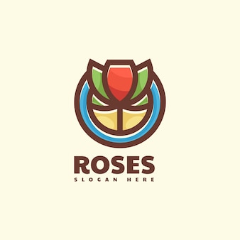 Logo rose semplice stile mascotte