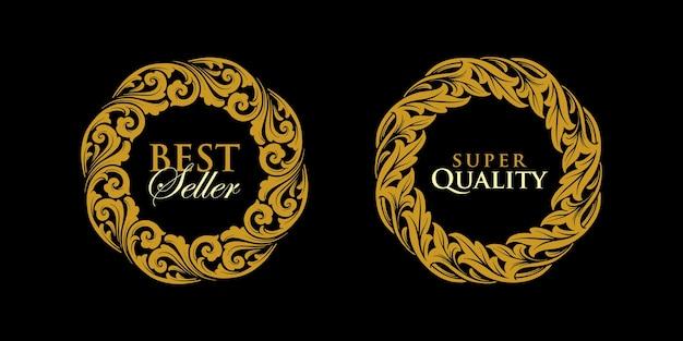 Logo rotondo emblema oro cornice ornamenti