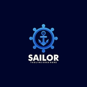 Logo marinaio gradiente colorato stile.