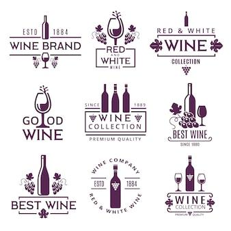 Insieme di logo o distintivi delle marche di vino