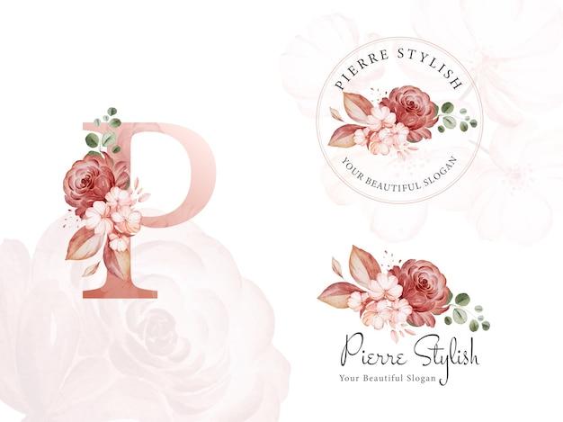 Insieme di marchio dell'acquerello marrone floreale per iniziale p