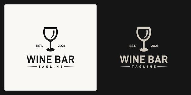 Forma del logo di un bicchiere di vino. logo in stile retrò, vintage, classico.