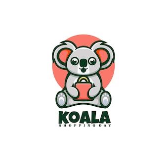 Logo shopping koala mascotte stile cartone animato