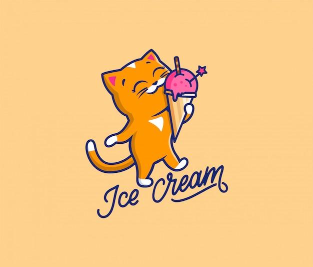 Il logo dolce gatto con gelato al testo. logotipo alimentare