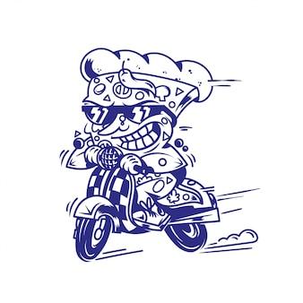 La pizza simbolo pazza della stampa di simbolo di logo che guida il retro motorino della velocità veloce e prova l'alimento della via di consegna più veloce mangia il backgroun bianco isolato personaggio dei cartoni animati dell'illustrazione di stile moderno della pizza.