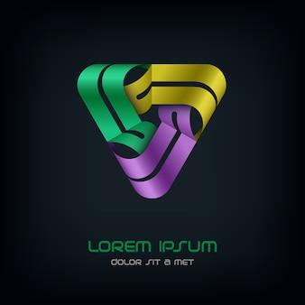 Modello astratto di logo tecnologia triangolo affari, logotipo di infinito loop hi tech,