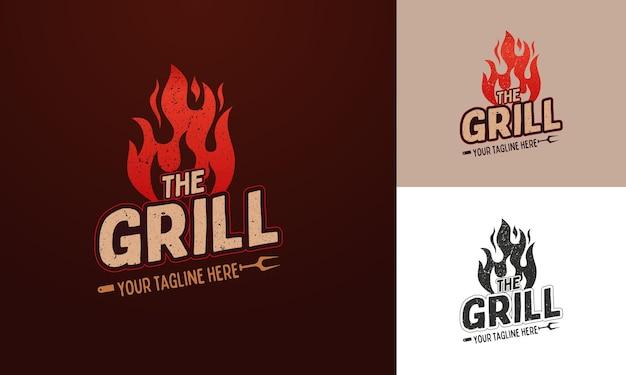 Modello di logo per ristorante barbecue