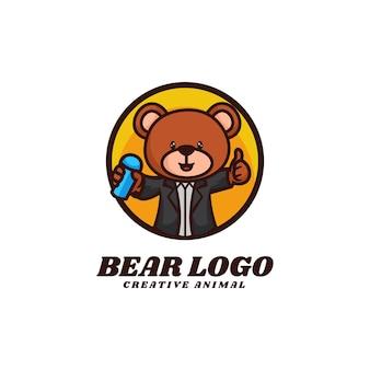 Modello di logo dello stile del fumetto della mascotte dell'orso.