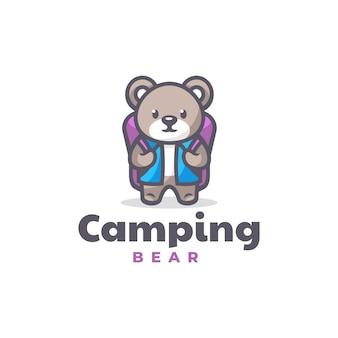 Modello di logo di stile cartone animato mascotte tecnico orso