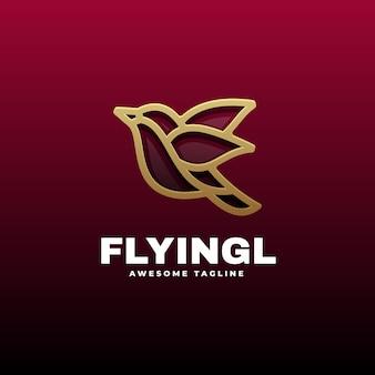 Modello di logo di bird flying line art style