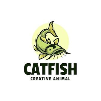 Modello di logo di stile cartone animato mascotte pesce gatto