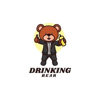 Modello di logo di bere lo stile del fumetto della mascotte dell'orso.