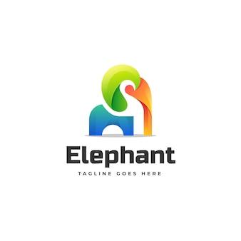 Modello di logo di stile colorato gradiente di elefante