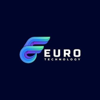 Modello di logo di euro gradient colorful style