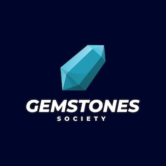 Modello di logo dello stile colorato sfumato di pietre preziose