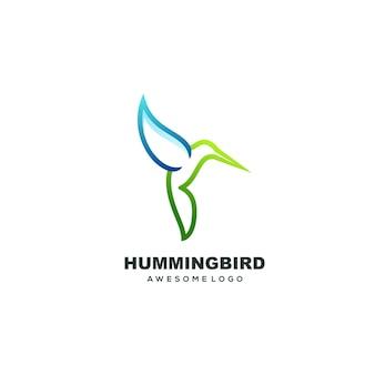 Modello di logo colibrì gradient line art logo colorato